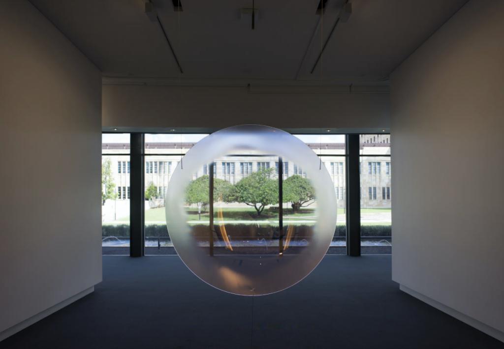 Mel O'Callaghan, Respire, Respire, 2019. Dielectric glass, 1500cm diameter. Installation view, UQ Art Museum, Brisbane, 2020. Photo: Clemens Habicht (Copyright © Mel O'Callaghan, 2019)
