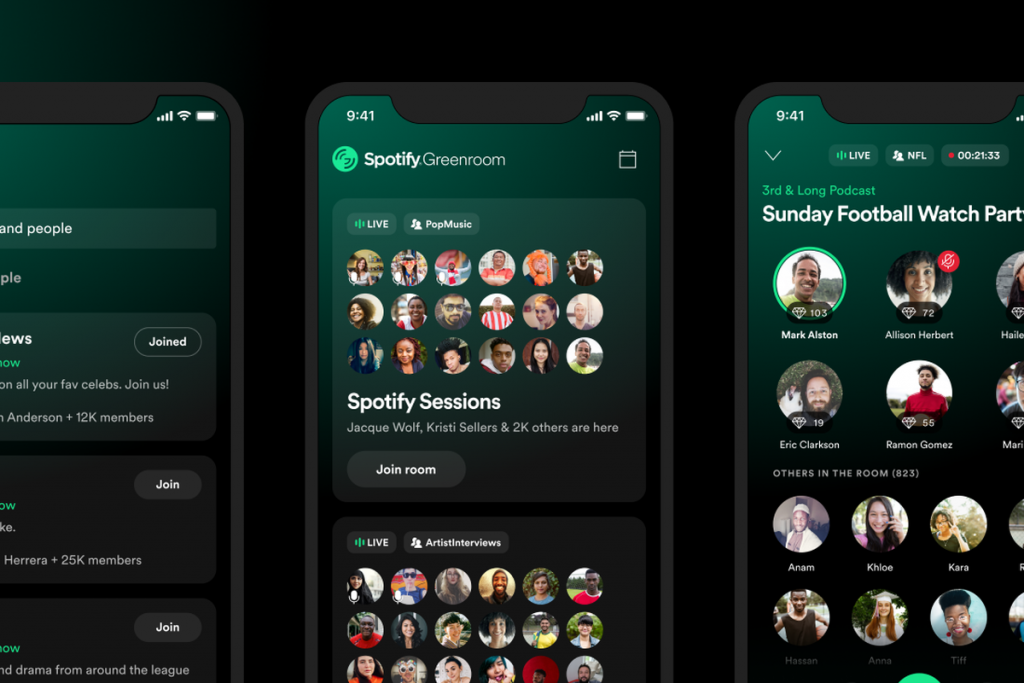 spotify greenroom audio chat rooms