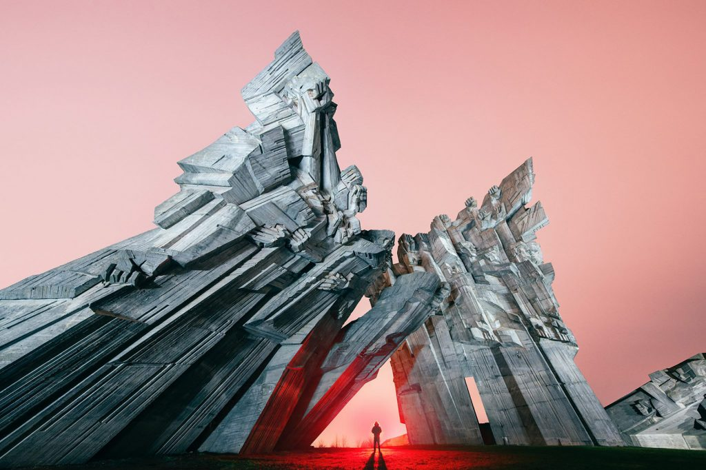 ARCHITECTURE, FUTURISTIC, LIGHT, LIGHTPAINTING, LIGHTPAINTINGPHOTOGRAPHY, MONUMENT, SOVIET, SOVIETERA